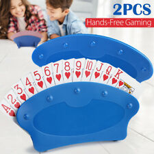Set of Two Hands Free Playing Card Holders Plastic Table Top Desk Games Holder