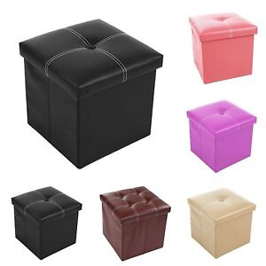 Ottoman Pouffe Faux Leather Toy Storage Box Home Office Stool Guest Spare Seat
