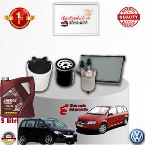 KIT TAGLIANDO FILTRI + OLIO VW TOURAN 1.6 16V 75KW 102CV DAL 2009 -> 2010