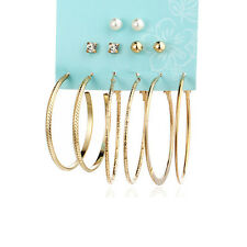 6 Pairs/set Jewelry Big Simulated Pearl Hoop Round Ear Stud Earrings Set Gold