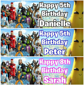 2 Personalised Birthday Banner Fortnite Marvel Game Kids Fun Party decoration