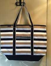 NEW Large Print Open Top Canvas Tote Bag COLOR: LIGHT CRYSTAL BLUE STRIP