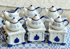 6 Teapot Stove Warmer Stands 17 Pc Blue White Porcelain Oil Fragrance Diffuser