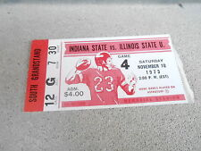 NOV 10 1973 NCAA football ticket stub INDIANA STATE vs ILLINOIS STATE