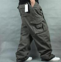New Men Long Pants Loose Cargo Baggy Carpenter Casual Overall Cotton Trousers