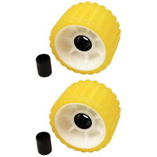 2 Pack 3 Inch Wide x 5 Inch OD Boat Trailer Yellow Rubber Ribbed Wobble Rollers