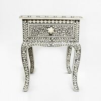 handmade Bone Inlay Floral Wooden Side Table