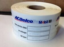 AC DELCO MOBIL 1  Oil Change Stickers (1000 Stickers) Oil Change Sticker