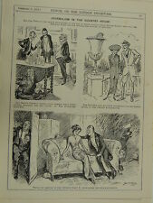 """7x10"""" PUNCH cartoon 1911 JOURNALISM IN THE COUNTRY HOUSE"""