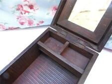 VINTAGE SOUTHERN INDIAN RUSTIC WOODEN JEWELLERY BOX METAL LOCK FOLD OUT MIRROR