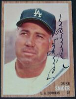 PERFECT AUTO! 1962 Topps Duke Snider Signed Autographed Baseball Card JSA LOA!