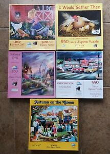 Suns Out Puzzles Lot Of 5 Jigsaw Puzzles 2 - 550 2 - 500 1 - 1000 Preowned