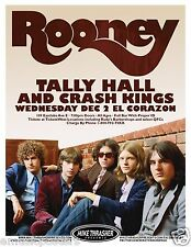 ROONEY / TALLY HALL / CRASH KINGS 2009 SEATTLE CONCERT TOUR POSTER