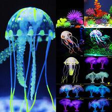 Aquarium Fish Tank Landscaping Coloured Glowing Jellyfish Coral Ornament Decor