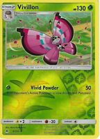 Pokemon SM Forbidden Light Card: Vivillon - 8/131 - Rare Reverse Holo