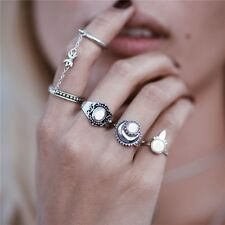 4 pcs SILVER BOHO ANTIQUE LUCK MOON CHAIN Band Midi Mid Finger Ring Holiday SM1
