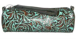 PATRICIA NASH Isla Turquoise Tooled Gold Leather Zip Clutch Wristlet NWT