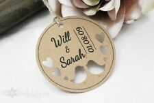 Wedding Favour Tags Personalised Gift tags Love Birds Rustic set x24