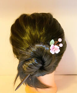Wire Twisted Kanzashi Wooden Hair Sticks with Czech Beads Peach FLower Design