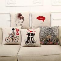 18'' Lover Cotton Linen Pillow Case Sofa Waist Throw Cushion Cover Home Decor