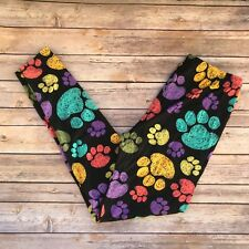Purple Teal Puppy Dog Kitty Cat Animal Paws Women's Leggings Plus Size TC 12-20