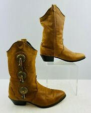 Ladies Brown Leather Pointed Toe Western Cowgirl Boots Size: 6.5 M