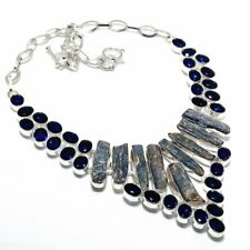 Blue Kyanite, Blue Topaz Gemstone 925 Sterling Silver Jewelry Necklace 18""