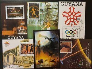 Guyana  - 6 Olympic - souvenir sheets - CTO