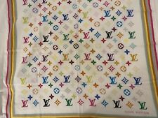 Louis Vuitton Colorful Monogram Cotton Square Scarf Bandana Murakami Authentic