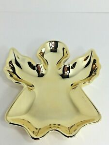 Gold Angel Dish Christmas Ceramic Studio Nova Jewelry Trinket Snack Tray Decor