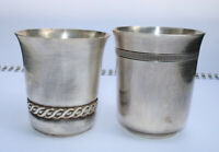 Antique Christofle Gallia Timbale Silver Plated 2 Goblet Beautiful Silverware