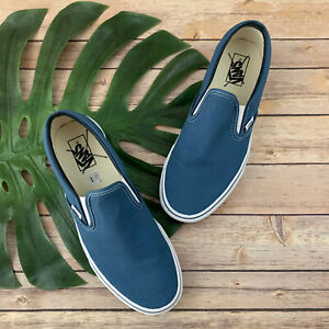 Vans Mens Classic Slip On Sneakers Size 10.5 New Solid Blue Canvas Skater