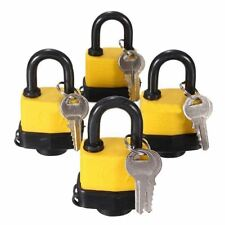 4pcs 40mm Waterproof Keyed Alike Lock Laminated Padlock Pad Same Key Gate D C5A4