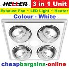 HELLER 3 IN 1 CEILING BATHROOM EXHAUST FAN HEATER LED LIGHT 4 HEAT GLOBES WHITE