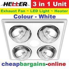HELLER 3 IN 1 CEILING BATHROOM EXHAUST FAN HEATER LED LIGHT 4 HEAT GLOBES WHITE