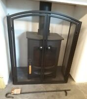 Spark guard Fire screen 2 doors black fire guard with free poker