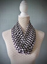 Black and white lace snood, black and white lace cowl loop scarf with flowers