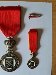 Ehrenzeichen Verdienstorden Belgien Brabant  Medaille versilbert mit Mini