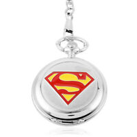 "Alloy Superman Logo Quartz Movement Pocket Watch with 16"" chain 50 mm Gift"