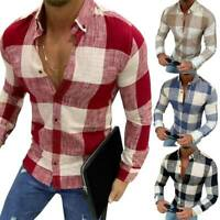 Herren Unternehmen Slim Fit Langarm Freizeithemd Top Hemd Karierte Muster Hemden