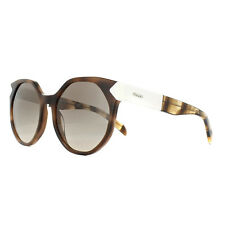Prada Sunglasses PR11TS USG3D0 Striped Dark Brown Light Brown Gradient Grey