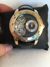 Elgin Men Gold Tone Black Leather Band Open Dial Semi Automatic Watch FG2014S-64