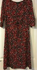 BNWT Peacocks Black Red flower print ruched knee length dress Size 8