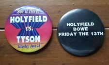 2 Boxing buttons Holyfield vs Tyson and Holyfield vs Bowe