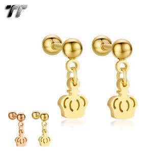 TT Surgical Steel Crown Dangle Ear Cartilage Tragus Earrings (BE175) NEW
