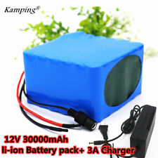 12V 30Ah Rechargeable Protable Li-ion Lithium Battery + DC 12.6V 3A Charger