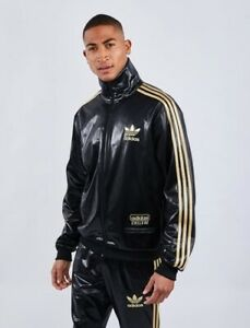 New Adidas Chile 62 Black Suit Gold Silver Track Top Shiny Rare Jacket Pants