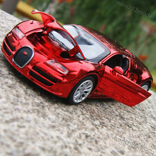 Bugatti Veyron Model Car 1:32 Alloy Diecast Toys Sound&Light Wine-Red Plated New