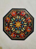 "18"" Black Marble Table Top Pietra dura Inlay Handcraft Home Decor"