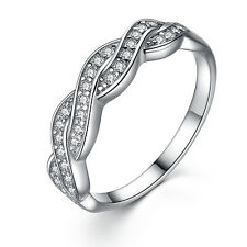 Solid Sterling Silver Infinity Wedding Ring Band
